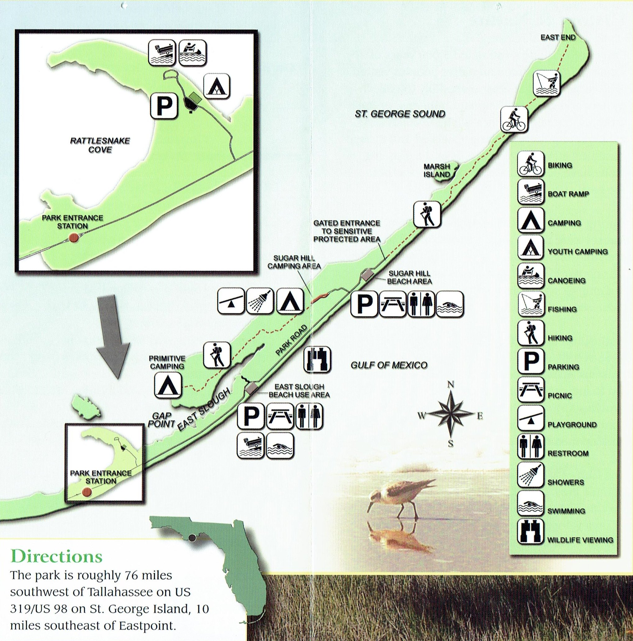 Florida State Parks Camping Map.Dr Julian G Bruce St George Island State Park Camping Places